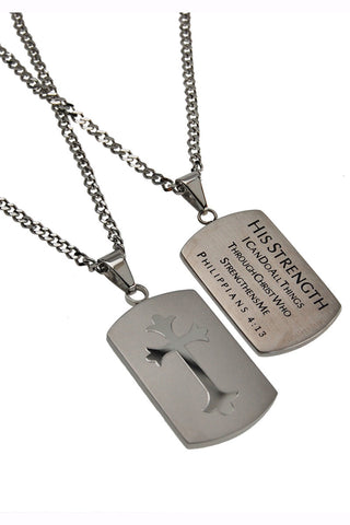 Silver Shield Cross Necklace His Strength Philippians 4:13