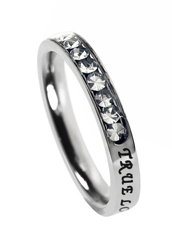"Princess Birthstone Ring April-Diamond ""True Love Waits"""