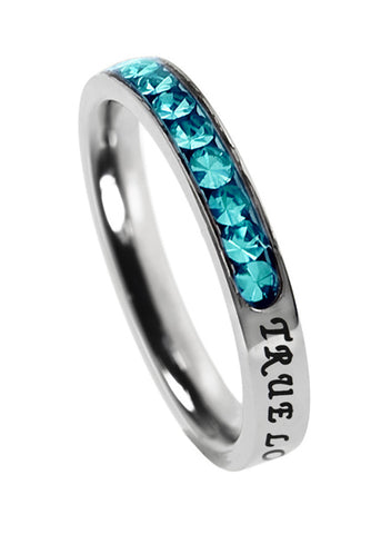 "Princess Birthstone Ring December-Turquoise ""True Love Waits"""
