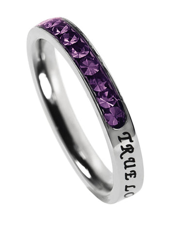 "Princess Birthstone Ring February-Amethyst ""True Love Waits"""