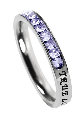 "Princess Birthstone Ring June-Light Amethyst ""True Love Waits"""