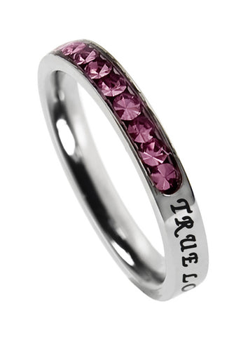 "Princess Birthstone Ring October-Pink Sapphire ""True Love Waits"""