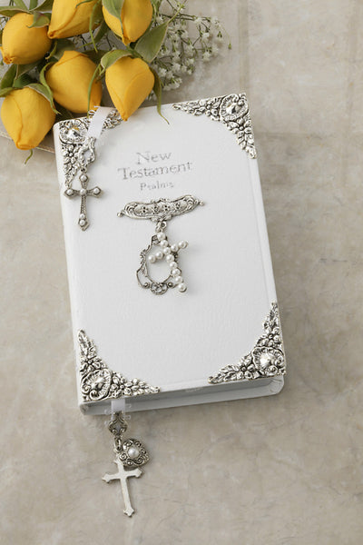 White Jeweled Faux Pearl Tiny Baby's New Testament Bible and Bookmark