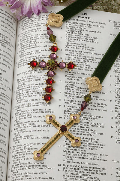 Jeweled Cross Ribbon Bookmark