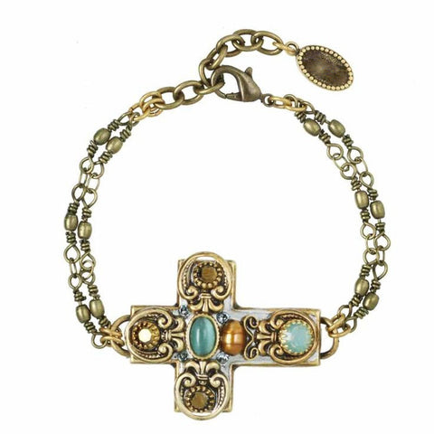 Cross Bracelet with Cats eye and Swarovski Crystals