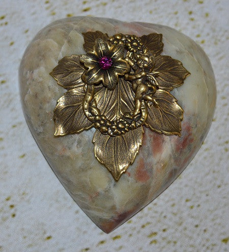 Heart Paperweight Pink Flower and Cupid