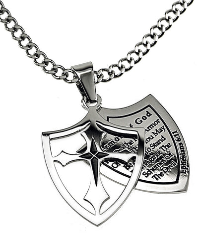 "2 Piece Shield Cross Necklace ""Armor Of God"" Full Verse with Upgrade Chain"