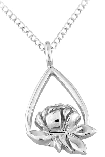 Open Tear Rose Sterling Silver Memorial Tear® Pendant