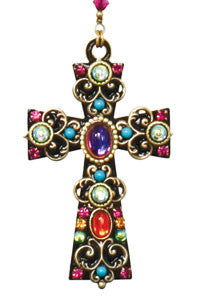 Black Enamel Gemstone Cross Necklace