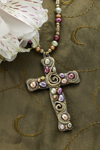 Colored Freshwater Pearl Cross Necklace