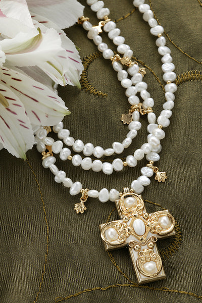 Freshwater Pearl & Mother of Pearl Cross Necklace