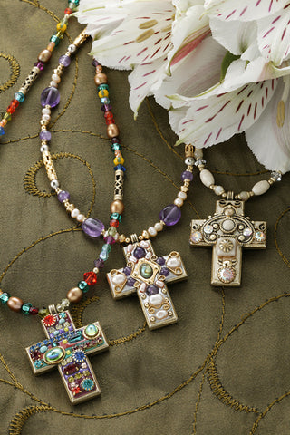 Medium Gemstone Cross Necklace-Choice of 3 Bead Colors