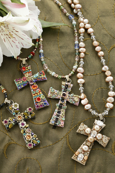 Large Gemstone Cross Necklace - Choice of 4 Bead Colors