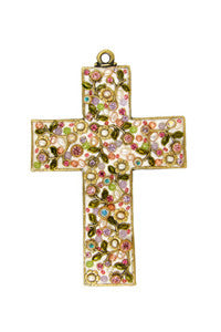 Multi-Colored Flowers Gemstone Wall Cross