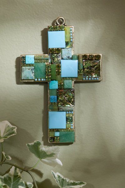 Turquoise, Jade & Abalone Gemstone Wall Cross