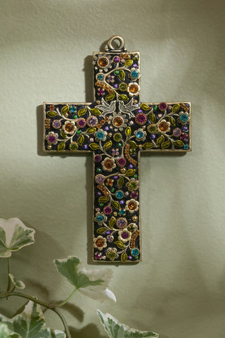 Multi-Colored Dove Gemstone Wall Cross