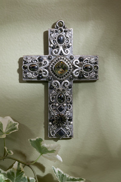 Hematite Gemstone Wall Cross