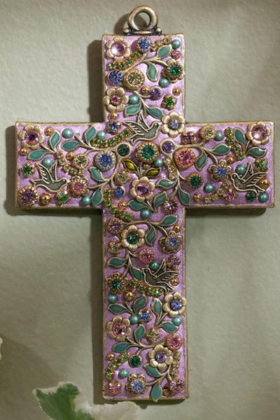 Pastel Doves & Flowers Gemstone Wall Cross