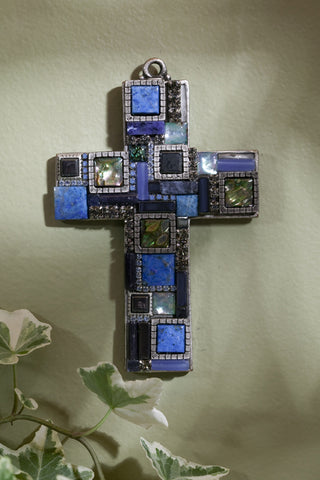 Blue Lapis Gemstone Wall Cross