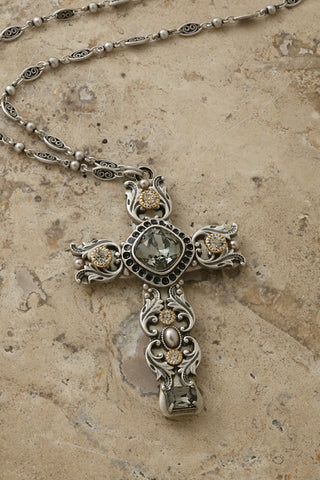 "Black Diamond Swarovski® Crystal 3"" Cross Pendant"