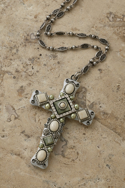 "River Stone, Rhyolite and Freshwater Pearl 3"" Cross Necklace"