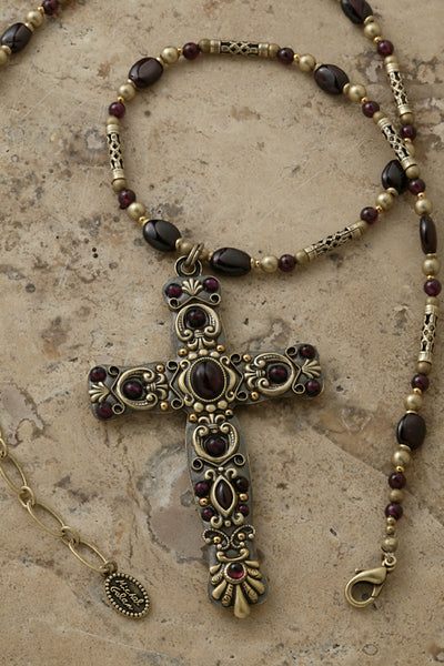"Garnet 3"" Cross Necklace"