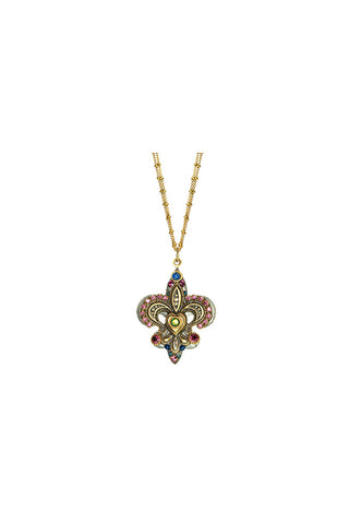 Florence Fleur De Lis Gemstone with Double Chain Necklace