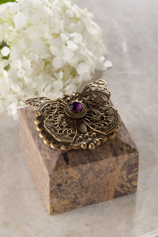 Butterfly & Crystal Square Ring Box