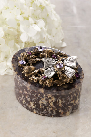 ON SALE Butterfly Garden Oval Soapstone Box with Swarovski® Crystals
