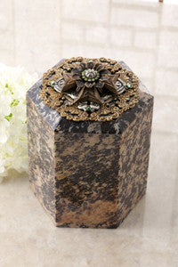 Tall Maltese Crystal Cross Soapstone Box