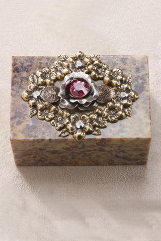 Rose of Sharon Garden Soapstone Box