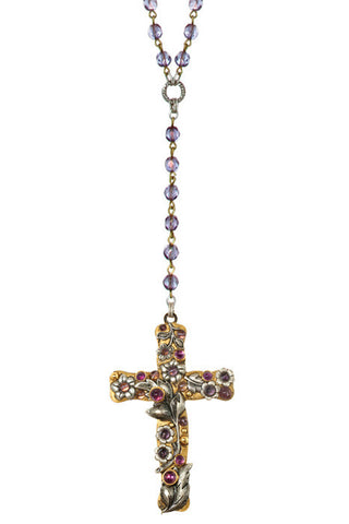 Large Amethyst Flower Cross Necklace