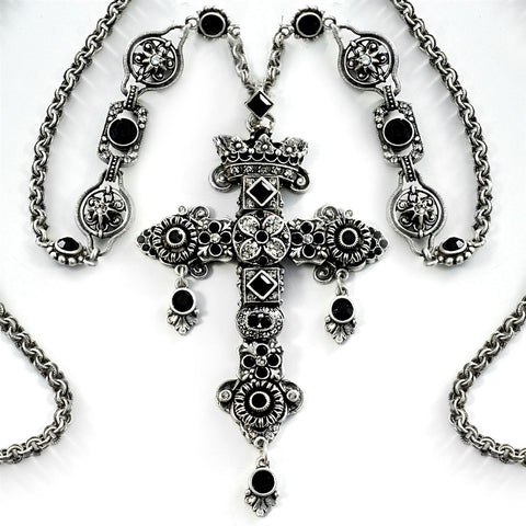 Queens Gemstone Cross Necklace Silver and Black