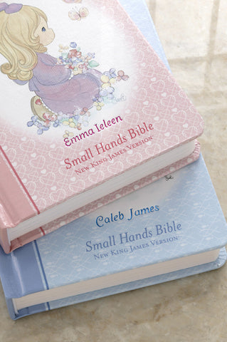 Blue Precious Moments Engraved Bible-Small Hands Edition Hardcover