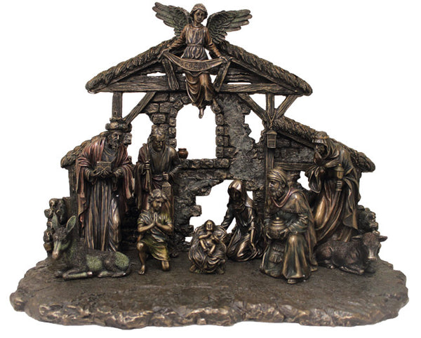 Nativity, 11 Pieces & Stable Cold-Cast Bronze