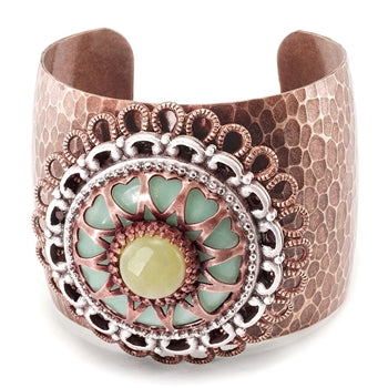 Gemstone Heart Medallion Cuff Bracelet