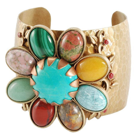 Southwest Gemstone Flower Cuff Bracelet