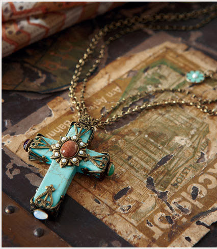 Turquoise Cathedral LARGE Cross Pendant