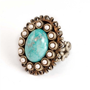 Turquoise and Pearls Ring