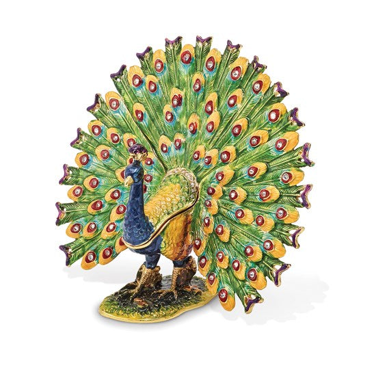 """Proud as a Peacock"" Strutting Peacock Trinket Box"