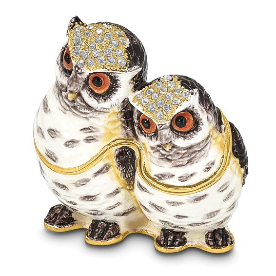 """Olga and Omar"" Mother and baby owl Hinged Trinket Box"