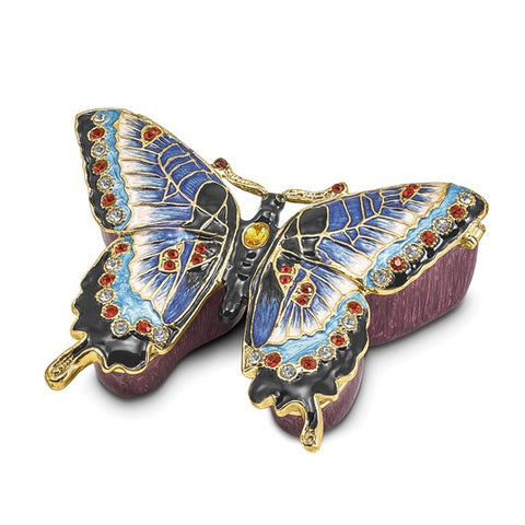 Bejeweled Blue Butterfly Trinket Box