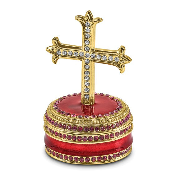 Bejeweled REVERENCE Cross on Round Trinket Box