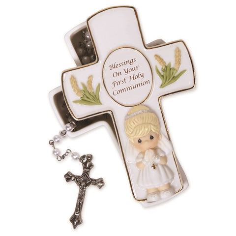 Precious Moments Blessings First Holy Communion White Rosary and Keepsake Box