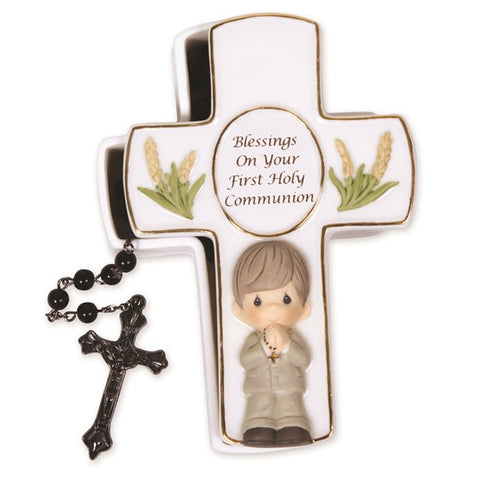 Precious Moments Blessings First Holy Communion Black Rosary and Keepsake Box