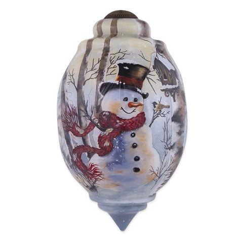 Dona Gelsinger Birch Forest Snowman Handpainted Glass Ornament