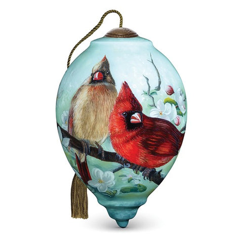 Orchard Cardinals Handpainted Ornament