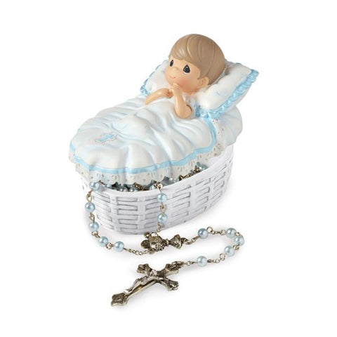 Precious Moments Blue Baby Baptism 17.5 inch Rosary Box Set