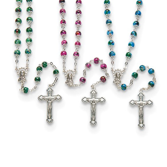 Set of 3 Marbled Bead Rosaries- Green, Blue & Pink
