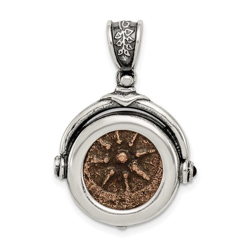 Antiqued Sterling Silver Widow's Mite Coin Pendant